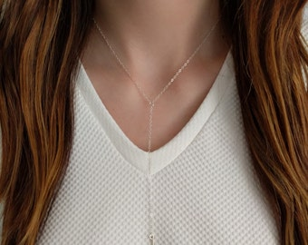 Simple Hammered Bar Y Necklace/ Gold Filled Y Bar Necklace/ Sterling Silver Y Bar Necklace/ Y Necklace with Vertical Bar
