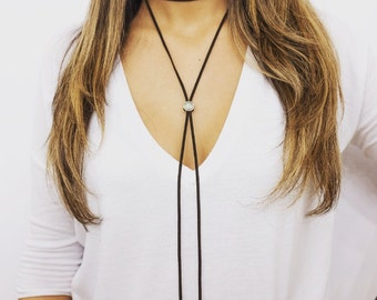 Suede Bolo Necklace with Adjustable Center Charm
