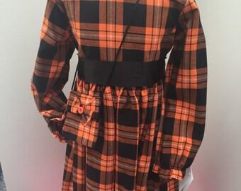 Girls Orange and Black Tartan Dress with matching bag Age 3/4/6