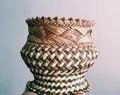 Vintage Rattan Tribal Basket / Small Woven Plant Holder