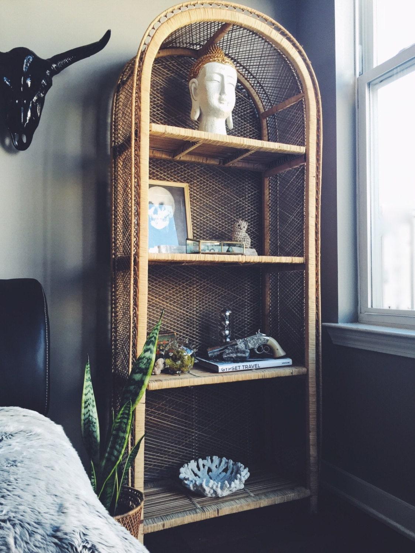 Vintage Rattan Standing Shelf