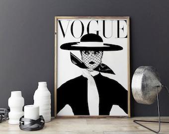 VOGUE WALL ART.Vogue Print,Vogue Cover,Vogue Magazine,Fashion Illustration,Fashionista,Modern Office Decor,Vogue Pattern,fashion Decor