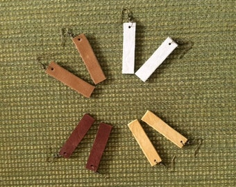 Upcycled rectangle leather earrings