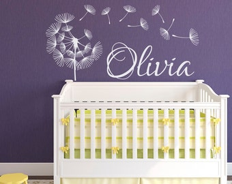 Dandelion Nursery Wall Decal Name- Personalized Name Decal Nursery Decor- Custom Name Vinyl Decal- Wall Decal Girl Baby Kids Room Decor #62