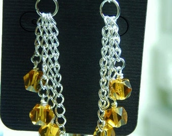 chain chandelier earrings with amber polished crystal beads