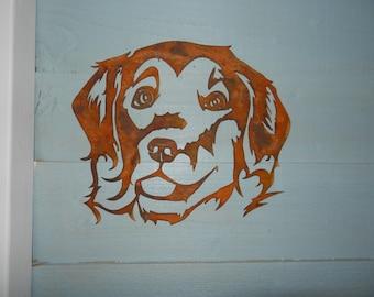 Golden Retriever Gift/ Dog Lover Gift / Rusty Metal Garden Art / Dog Decoration / Metal Dog Wall Decor / Dog Memorial / Retriever Dog Gift