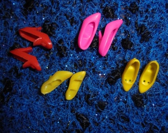 Francie bendable/Years 90/Vintage shoes/Pink/ Red/ Yellow