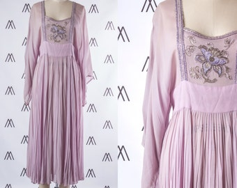 1970s Lilac Sheer Chiffon Pleated Kimono Sleeve Gown with Beaded Floral Embroidery