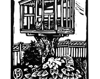 Treehouse, linocut