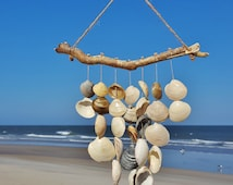 Driftwood and Quahog Seashell Wind Chime/Mobile || Beach Decor || North Carolina Seashells