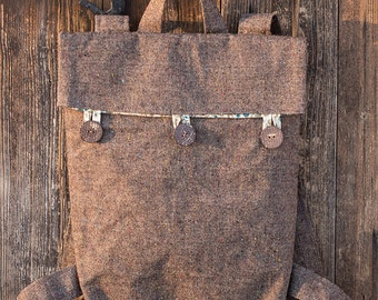 Brown tweed woolen backpack rucksack bag
