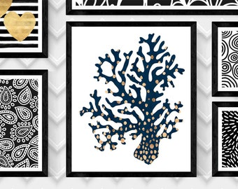GOLD and NAVY CORAL Art Print Left Side,Ocean Art Print,Coral Wall Art,Digital Coral Print,Sea Coral Print,Digital Download Print,Art Poster