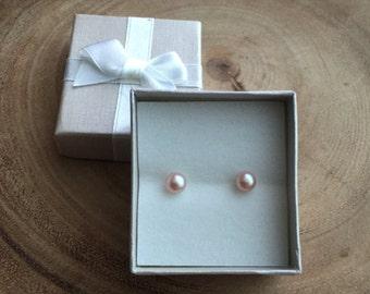 Pearl stud earrings, Natural pearl earrings, Freshwater pearl studs, Pink Pearl earrings, Christmas gift , Kids earrings, Christmass gift