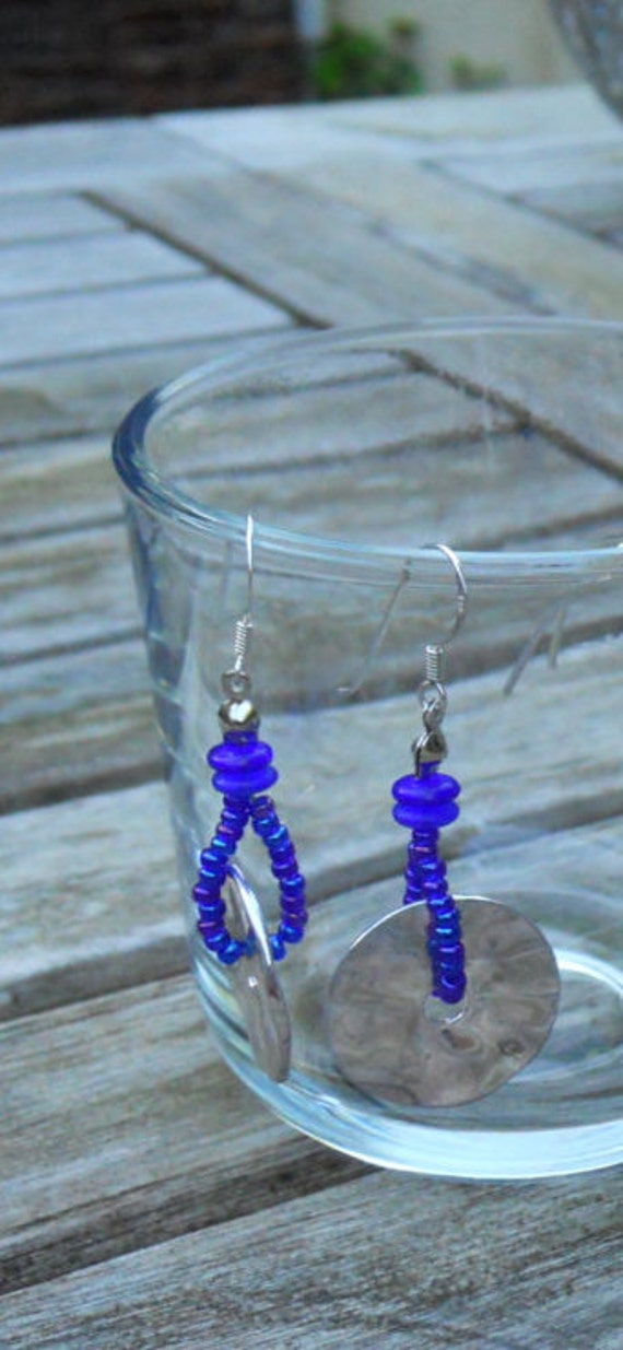 Long earrings with shiny metal ring, finished with Royal Blue seed beads