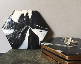 Marble Hexagon Coaster (Set of 4)