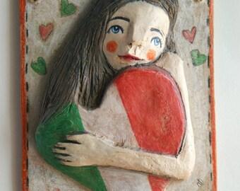 Terracotta sculpture-terracotta poster-terracotta figurines-figurines-sculptural clay handmade terracotta-Italy-heart, wood art