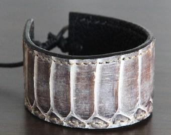 Genuine Cobra Snakeskin Bracelet/Cobra Leather/Exotic Leather/Thick Cuff Bracelet (Cobra Snake Skin)