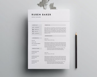 3 page resume template cv for word indesign plus icon pack