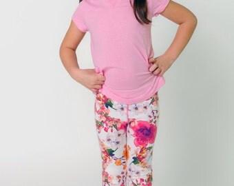 ANNA// Girls cropped capri leggings, seamless girls leggings, kids toddler spring summer leggings, ready to ship, 2t 3t 4t 5t xs s