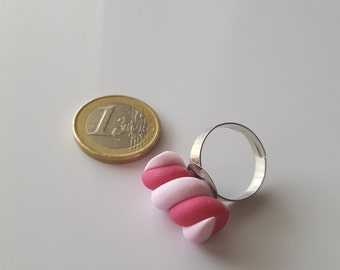 Ring gourmet Marshmallow / Marshmallow pink and white