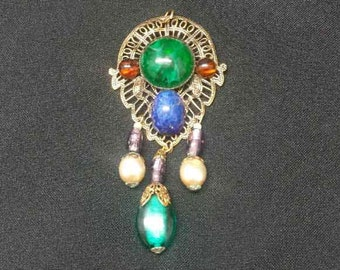 Vintage, Brooch or Pendant, Gold Tone with  many colorful Stones
