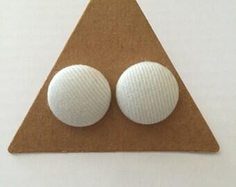 Lovely white fabric covered earrings