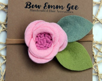 PIXIE Pink felt flower headband || Felt Flowers || Nylon headband || One size fits all (baby - adult) || bowemmgee