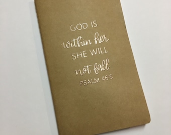 Prayer Journal | Personalized Journal | Scripture Journal | Kraft Journal | God Is Within Her She Will Not Fall | Psalm 46