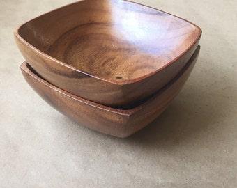 "Square Wooden Salad Bowl 6"""