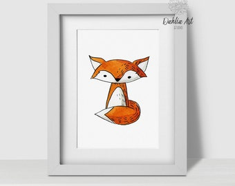 Baby Fox Print, Fox Decor, Printable Kids Art, Fox Watercolor, Forest Nursery Art, Woodland Decor, Fox Printable, Woodland Animal