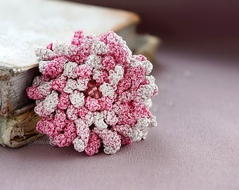 White and pink crochet flower brooch,  accessory