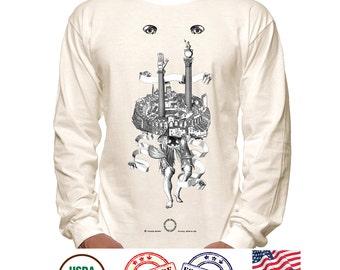 Secret Illuminati Tee, Kabbalah Art T-Shirt, Kabalistic Illustration, DTG Printed Tees Tops, Medieval Architecture, Masonic Symbols Tees