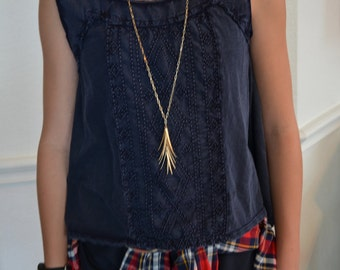Long Gold Spikey Cluster Statement Necklace