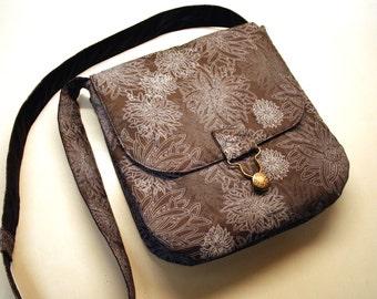 Handbag Floral Silver Grey Elegant