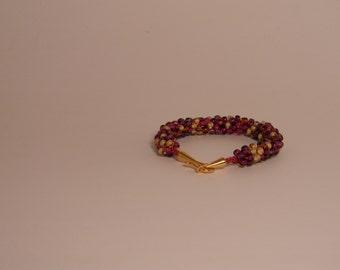 Wine blush kumihimo beaded bracelet