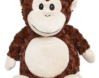 Monkey Cubbie embroidered with your special message - unique gift for babies or kids