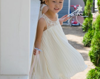Pearl Pleated Babydoll Dress (Ivory)