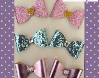 Glitter pigtail bow sets