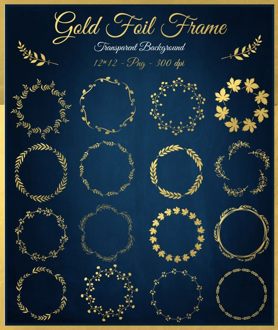 Gold Foil Digital Floral Frames Clipart Circle Gold Frames