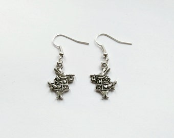 Alice in Wonderland earrings March Hare rabbit earrings White Rabbit