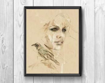 Beautiful lady with near a bird, post watercolor painting