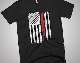 Thunder Electrician USA American Flag T-Shirt