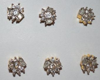 studs zircon earrings/small studs/gold plated brass studs