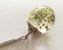 Orb Necklace: White Queen Anne's Lace suspended within a Clear Resin Sphere, Resin Pendant.