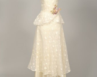 1940 Silk Organza Vintage Wedding Dress