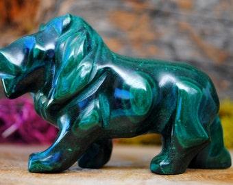 Malachite Crystal Lion Sculpture - Stone Animal Figurine-  1139.01