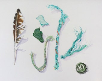 Beachfinds with Green string