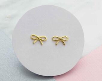 Minimalist stud earrings, minimalist earrings, dainty earrings, simple earrings, everyday earrings, gold bow earrings, best friend gift