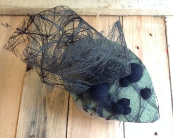 VOLUPTUOUS. Light green and black felt fascinator.