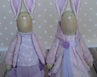 Rabbits-Fabric Bunnies-Handmade Bunnies-Textile Rabbits-Interior Doll- Home Decoration-Rag Bunnies-Interior Bunny